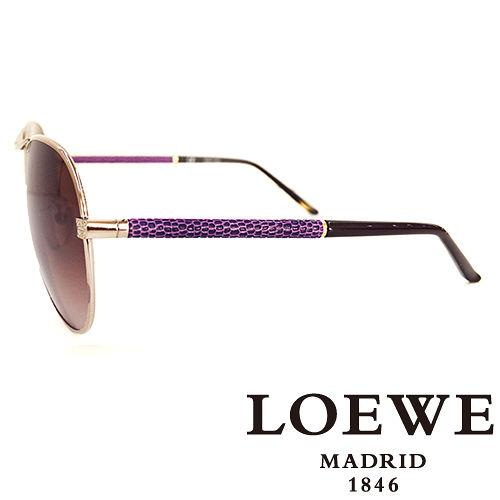 LOEWE 西班牙皇室品牌羅威 皮革蛇紋太陽眼鏡^(紫色^) SLW380~08Y9