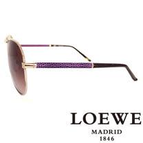 LOEWE 西班牙皇室品牌羅威經典皮革蛇紋太陽眼鏡(紫色) SLW380-08Y9