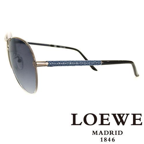 LOEWE 西班牙皇室品牌羅威 皮革蛇紋太陽眼鏡^(藍色^) SLW380~0568