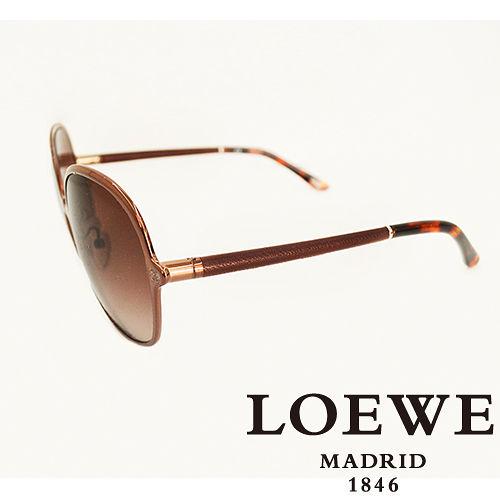 LOEWE 西班牙皇室品牌羅威 素面皮革太陽眼鏡^(咖啡色^) SLW381~0A16