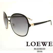 LOEWE 西班牙皇室品牌羅威經典素面皮革太陽眼鏡(黑色) SLW381-0301