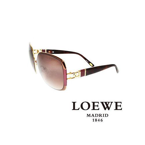 LOEWE 西班牙皇室品牌羅威金屬皮革太陽眼鏡^(紫^) SLW405~0R26
