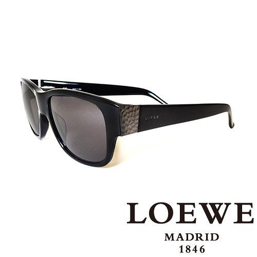 LOEWE 西班牙皇室品牌羅威素面貴氣太陽眼鏡^(黑^) SLW693~0700