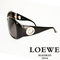 LOEWE 西班牙皇室品牌羅威圓形貴氣經典LOGO太陽眼鏡(黑) SLW694-0700