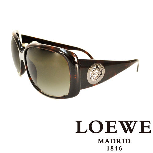 LOEWE 西班牙皇室品牌羅威圓形貴氣 LOGO太陽眼鏡^(琥珀^) SLW695~09X
