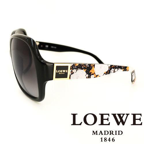 LOEWE 西班牙皇室品牌羅威皇家花紋太陽眼鏡^(黑^) SLW728~700X