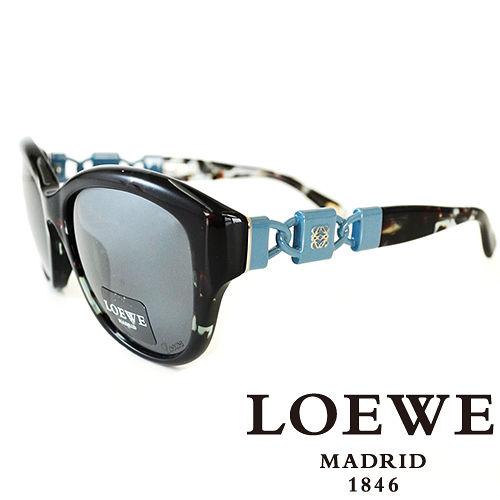 LOEWE 西班牙皇室品牌羅威 鑄模鎖扣太陽眼鏡^(藍斑^)SLW847~AM5X