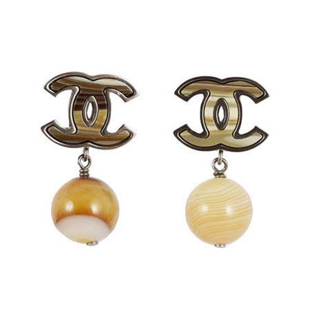 CHANEL  香奈兒 經典雙C LOGO撞色珠珠吊飾耳環.古銅