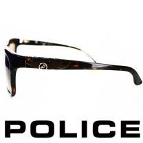 POLICE 義大利警察都會款個性型男眼鏡-膠框(琥珀) POS1895-722P