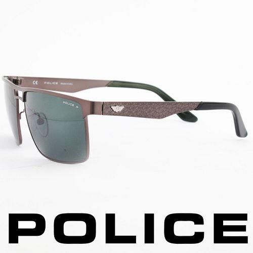 POLICE 義大利警察都會款 型男眼鏡~金屬框^(銀灰^) POS8873~H68P