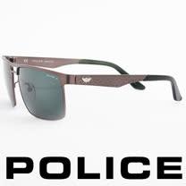 POLICE 義大利警察都會款個性型男眼鏡-金屬框(銀灰) POS8873-H68P