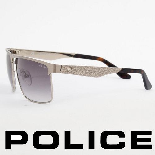 POLICE 義大利警察都會款 型男眼鏡~金屬框^(銀色^) POS8873~0Q39