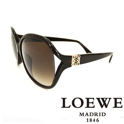 LOEWE 西班牙皇室品牌羅威 立體LOGO太陽眼鏡^(咖啡^) SLW742~0958