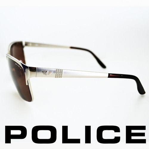 POLICE 義大利警察都會款 型男眼鏡~金屬框^(銀色^) POS8875~589P