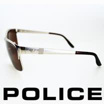 POLICE 義大利警察都會款個性型男眼鏡-金屬框(銀色) POS8875-589P
