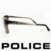 POLICE 義大利警察都會款個性型男眼鏡-金屬框(銀灰) POS8875-584P