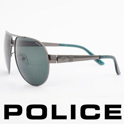 POLICE 義大利警察都會款 型男眼鏡~金屬框^(綠銀^) POS8876~584P