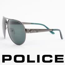 POLICE 義大利警察都會款個性型男眼鏡-金屬框(綠銀) POS8876-584P
