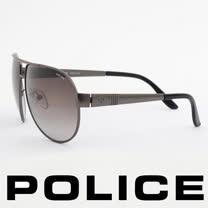 POLICE 義大利警察都會款個性型男眼鏡-金屬框(黑灰) POS8876-0627
