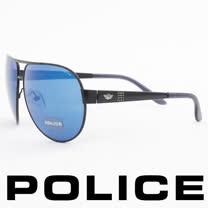 POLICE 義大利警察都會款個性型男眼鏡-金屬框(黑色) POS8876-531B