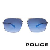 POLICE 義大利警察都會款個性型男眼鏡-金屬框(黑色) POS8879-579P