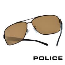 POLICE 義大利警察都會款個性型男眼鏡-金屬框(棕黑) POS8880-K05P
