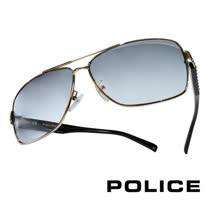 POLICE 義大利警察都會款個性型男眼鏡-金屬框(銀黑) POS8880-0579
