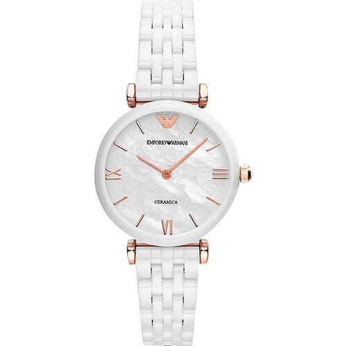 ARMANI Retro 時尚薄型陶瓷女錶-珍珠貝x白 AR1486
