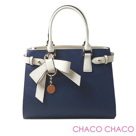 【CHACO韓國】韓製配色蝴蝶結金屬小圓牌兩用包3491*丈青色