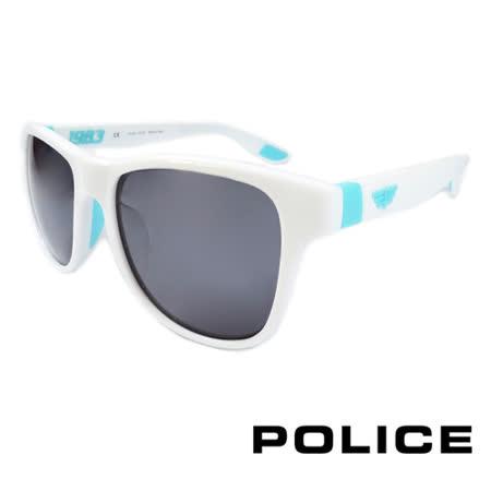 POLICE 義大利警察都會款個性型男眼鏡-膠框(水藍色) POS1823-4A0V
