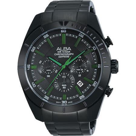 ALBA 魅力時尚三眼計時腕錶-IP黑x綠時標 VD53-X150G