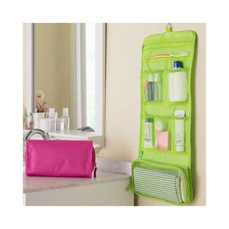 【iSFun】旅行專用*網狀摺疊盥洗包/綠