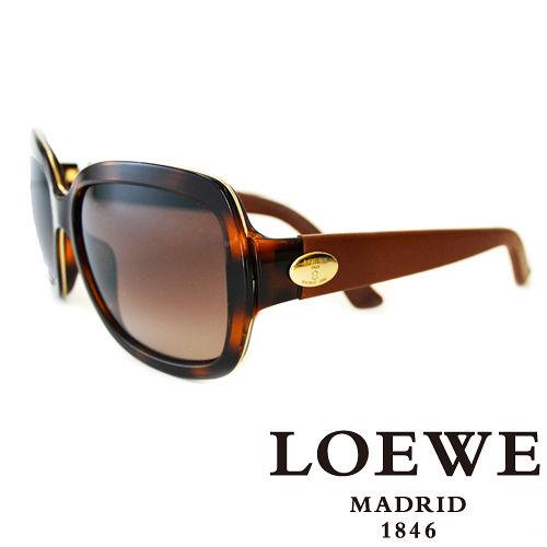 LOEWE 西班牙皇室品牌羅威皮革腳金屬LOGO太陽眼鏡^(咖啡^) SLW774~09A