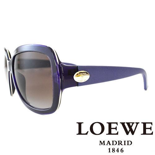 LOEWE 西班牙皇室品牌羅威皮革腳金屬LOGO太陽眼鏡^(紫^) SLW774~0055