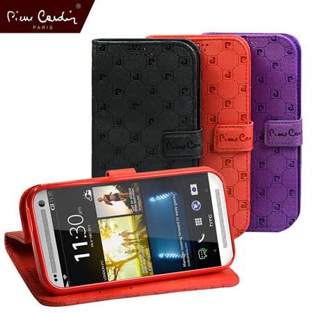 【Pierre Cardin】精典LOGO格紋時尚皮套(HTC One M8專用)