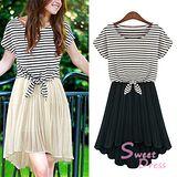 韓版限定【Sweet Dress】兩件式條紋短袖洋裝(共二色)