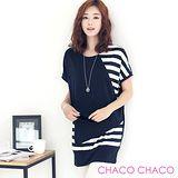 預購【CHACO韓國】韓製不規則搭配條紋短袖連身長板衫WKTS02(丈青色 free)