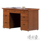 【優利亞-悠香樟木色】4.2尺書桌(下座)