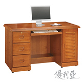 【優利亞-康熙樟木色】4.2尺百葉電腦桌
