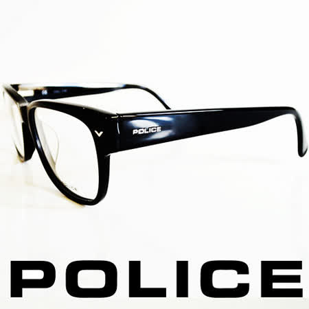 POLICE 義大利警察都會款個性型男眼鏡-膠框(亮黑) POV1765-0700