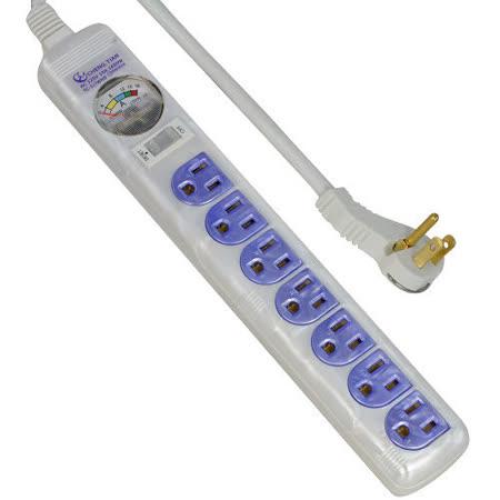 附電流表式 3孔7座1切安全延長線 2.7m(TC-317)