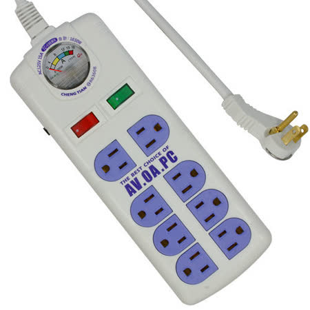 附電流表式 3孔8座2切安全延長線 2.7m(TC-696)