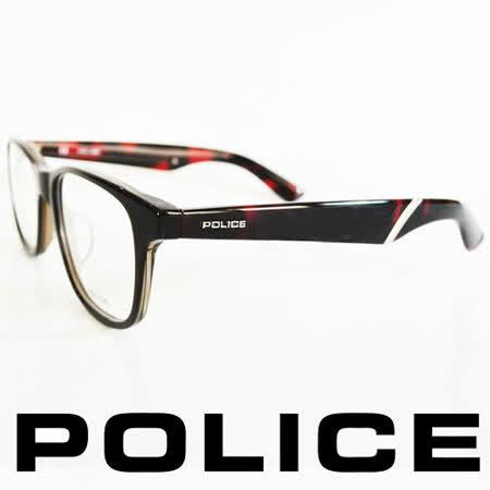 POLICE 義大利警察都會款個性型男眼鏡-膠框(琥珀紅) POV1792-0090