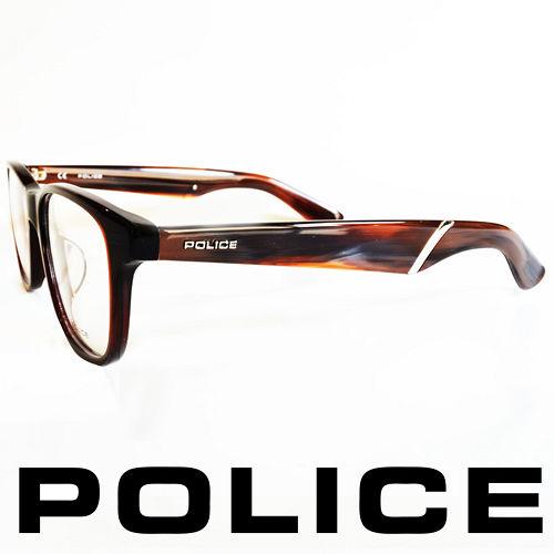 POLICE 義大利警察都會款 型男眼鏡~膠框^(咖啡^) POV1792~958X