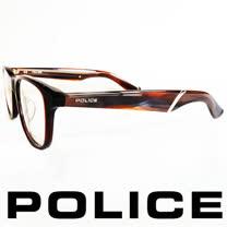 POLICE 義大利警察都會款個性型男眼鏡-膠框(咖啡) POV1792-958X