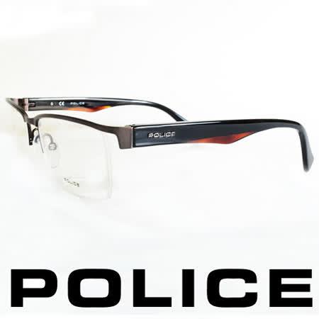 POLICE 義大利警察都會款個性型男眼鏡-半框(黑橘) POV8718-0627