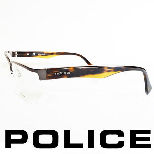 POLICE 義大利警察都會款 型男眼鏡~半框^(咖啡^) POV8718~0568