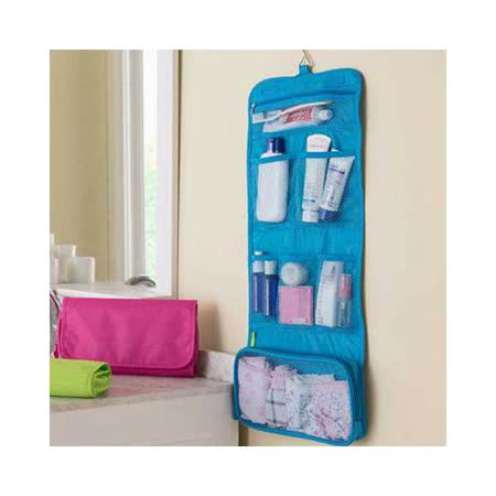 【iSFun】旅行專用*網狀摺疊盥洗包/藍