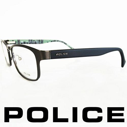 POLICE 義大利警察都會款城市系列眼鏡~金屬框^(霧銀霧綠^) POV8857~062
