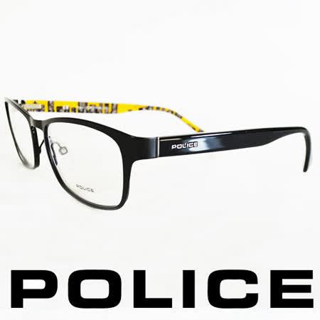 POLICE 義大利警察都會款城市系列眼鏡-金屬框(黑框黃) POV8857-0531